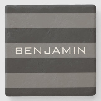 Black and Gray Rugby Stripes with Custom Name Stone Coaster