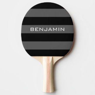 Black and Gray Rugby Stripes with Custom Name Ping-Pong Paddle