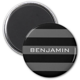 Black and Gray Rugby Stripes with Custom Name Magnet