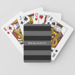 "Black and Gray Rugby Stripes with Custom Name Playing Cards<br><div class=""desc"">A manly pattern for the guys and boys in your family. A bold and modern design with an area for customized text. If you need to adjust the artwork or change the font, you can click on the customize area. This will take you to the design tool where you can...</div>"