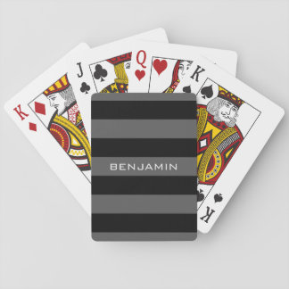 Black and Gray Rugby Stripes with Custom Name Playing Cards