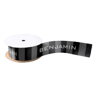 Black and Gray Rugby Stripes with Custom Name Satin Ribbon