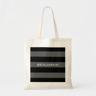 Black and Gray Rugby Stripes with Custom Name Tote Bag