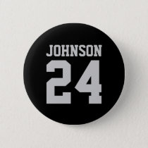Black and Gray School Spirit Personalized Team Pinback Button