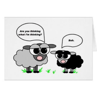 Black and Gray Sheep. Are you thinking what I'm... Greeting Card