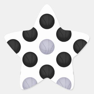 Black and Gray / Silver Basketball Pattern Star Sticker