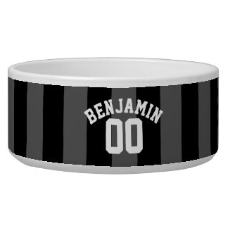 Black and Gray Silver Rugby Stripes Name Number Bowl