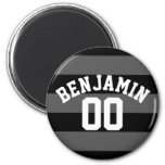 Black and Gray Silver Rugby Stripes Name Number Refrigerator Magnet