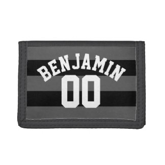 Black and Gray Silver Rugby Stripes Name Number Trifold Wallet
