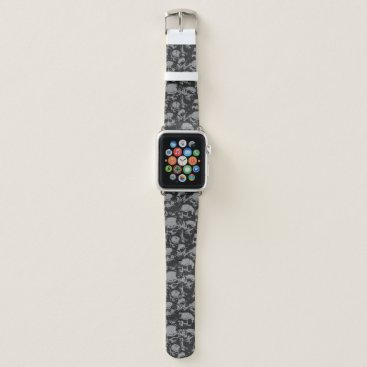 Black and Gray Skull Apple Watch Band