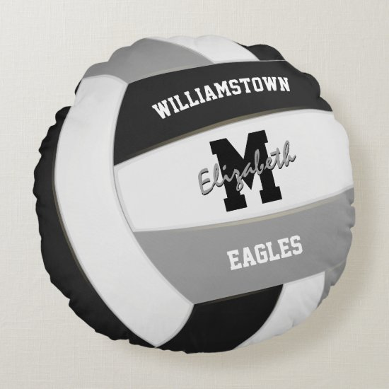 black and gray sports team colors volleyball round pillow