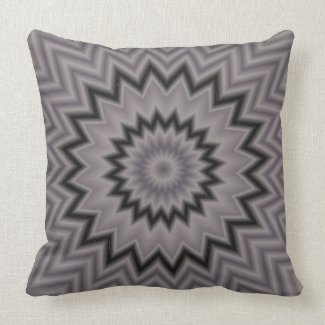 Black and Gray Starburst Throw Pillow