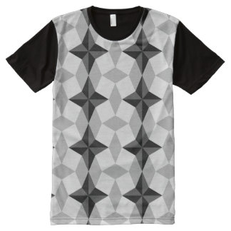 Black and Gray Starbust and Rhombus Pattern All-Over-Print T-Shirt
