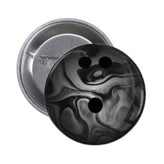 Black and Gray Swirl Bowling Ball Pinback Button