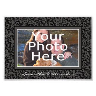 Black and Gray Swirl Elegant Photo Border w/Text
