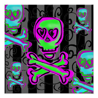 Black and Gray Swirls with Neon Skulls Posters