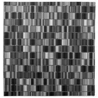 Black and Gray Tiled Mosaic Look Napkins