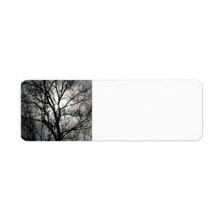 Black and Gray Tree Return Address Label