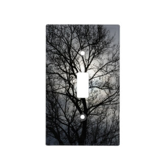 Black and Gray Tree Light Switch Cover