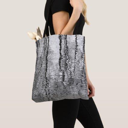 Black and Gray Tree Water Abstract Tote Bag