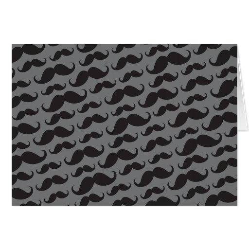 Black and gray trendy funny mustache pattern card