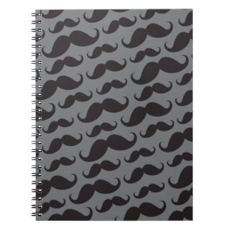 Black and gray trendy funny mustache pattern notebook