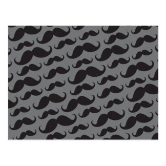 Black and gray trendy funny mustache pattern post cards
