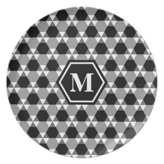 Black and Gray Triangle-Hex Melamine Plate