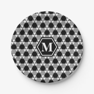 Black and Gray Triangle-Hex Paper Plate 7 Inch Paper Plate