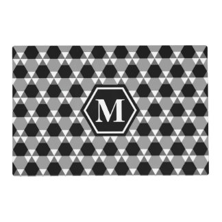 Black and Gray Triangle-Hex Placemat