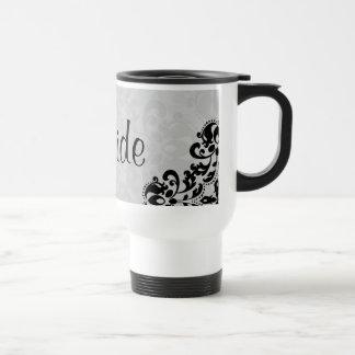 Black and gray victorian damask Bride Travel Mug