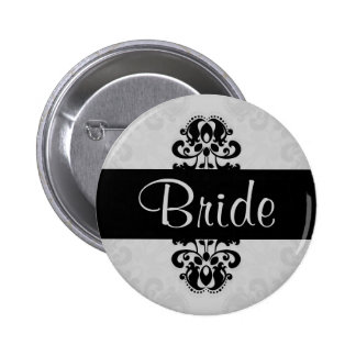 Black and gray victorian damask bride wedding pinback button