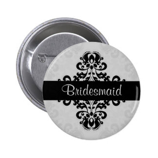 Black and gray victorian damask bridesmaid wedding pinback button