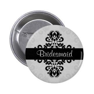 Black and gray victorian damask bridesmaid wedding pinback button