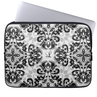 Black and gray victorian damask decor 13 inch laptop sleeves