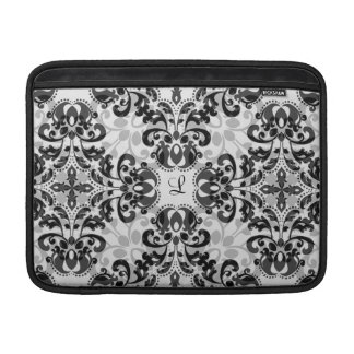 Black and gray victorian damask decor 13 inch MacBook sleeve