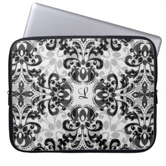 Black and gray victorian damask decor 15 inch laptop computer sleeves