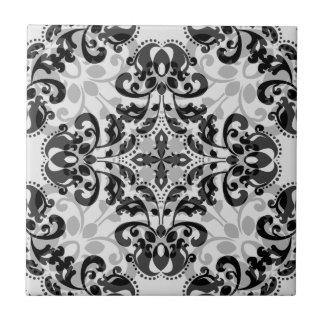 Black and gray victorian damask decor ceramic tile