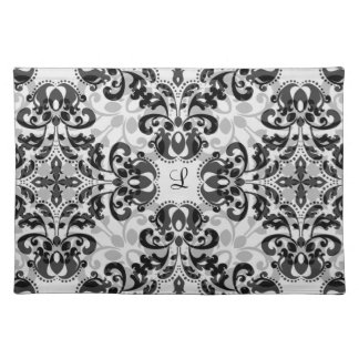 Black and gray victorian damask decor cloth placemat