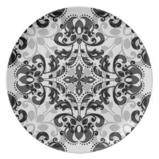 Black and gray victorian damask decor party plates