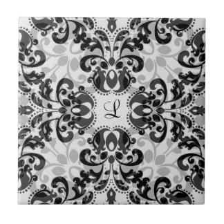Black and gray victorian damask decor tile