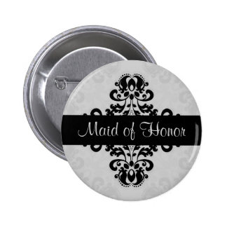 Black and gray victorian damask maid of honor button
