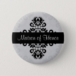 Black and gray victorian damask matron of honor button