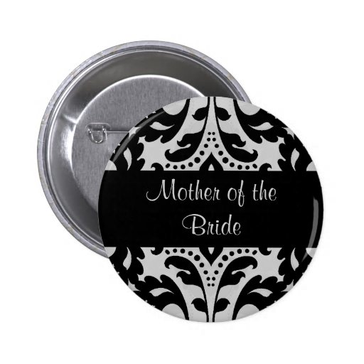 Black and gray victorian damask mother of bride buttons