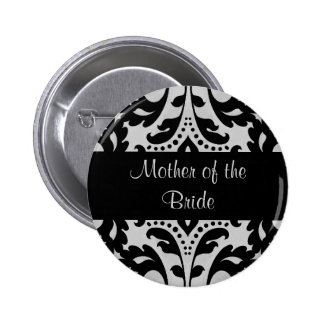 Black and gray victorian damask mother of bride pinback button