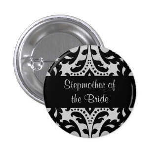 Black and gray victorian damask stepmother bride pinback button