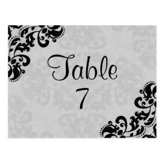 Black and gray victorian damask table number postcard