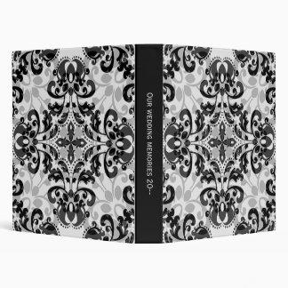"Black and gray victorian damask wedding 1"" wide 3 ring binder"