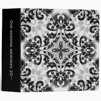 "Black and gray victorian damask wedding 2"" wide binder"
