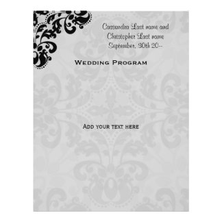 Black and gray victorian damask wedding program